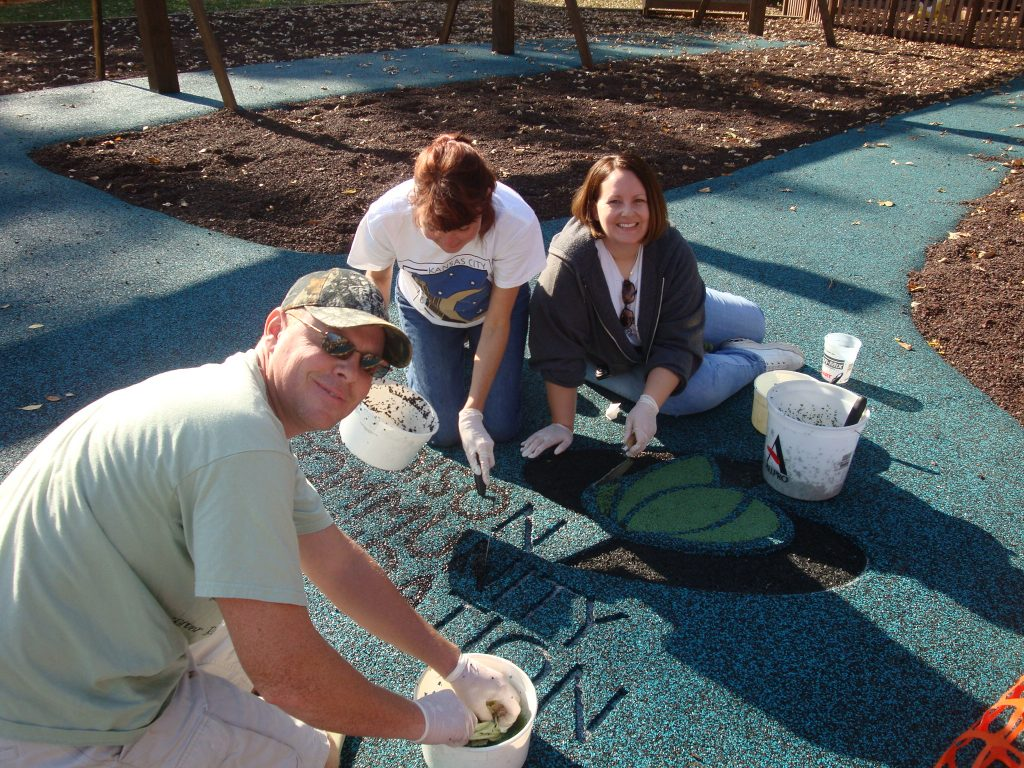 Volunteers provided all the labor for the poured-in-place rubber at Firemen's Park in the Prairie (Dream Park) in Sun Prairie. (Photos submitted by Rebecca Ketelsen)